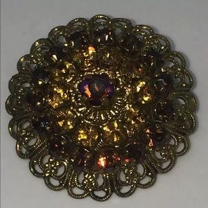 Amber West Germany Crystal Gold Tone Brooch